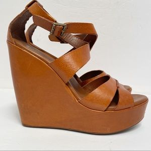 Kork-Ease Leather Wedge Sandal Size 9